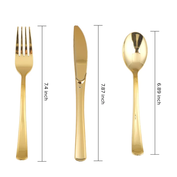 Pin By Style Wkends On Dinner Parties Gold Plastic Silverware Plastic Silverware Wedding Silverware Display