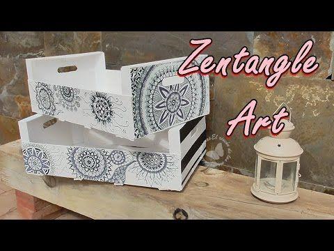 Decoramos cajas de fruta con zentangle art mandalas - Manualidades con cajas de madera de frutas ...