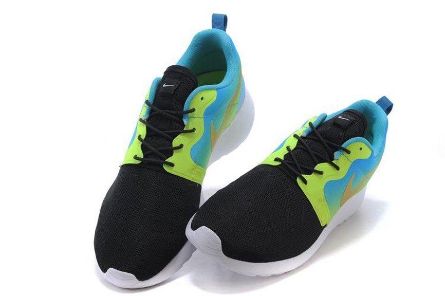 2015 Nike Wmns Roshe Courir Hyp Prm QS 3M 677308 001 Noir/Jaune/Bleu