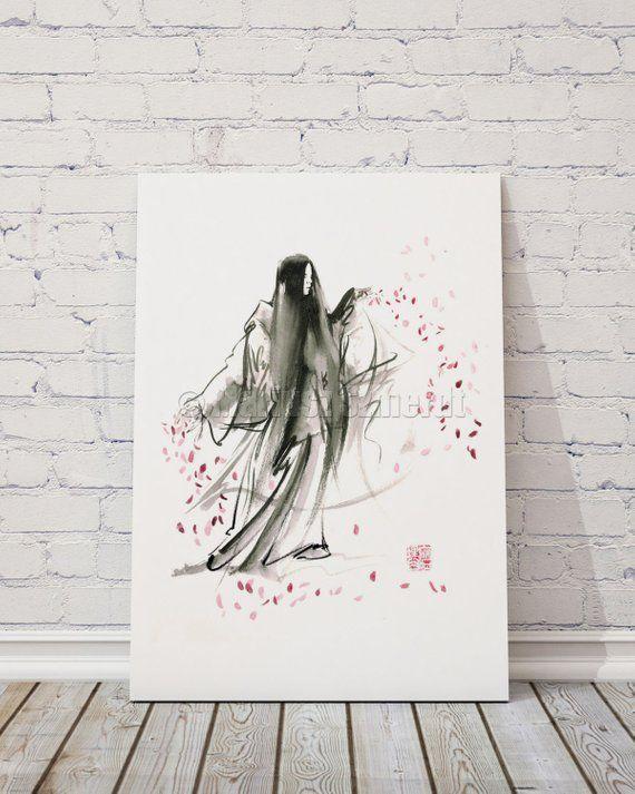 Geisha Calligraphy Art Print Japan Woman Painting Watercolor