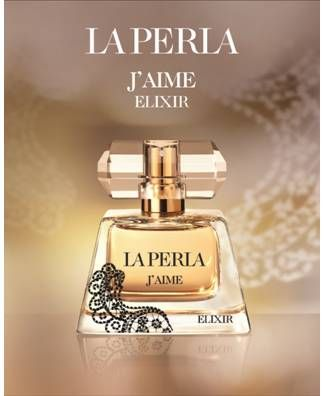 < CARAMEL >   La Perla J'aime Elixir   ...bergamot, mandarin oil and black pepper / rose, heliotrope and orris root / caramel, moss and musk.  *smpl