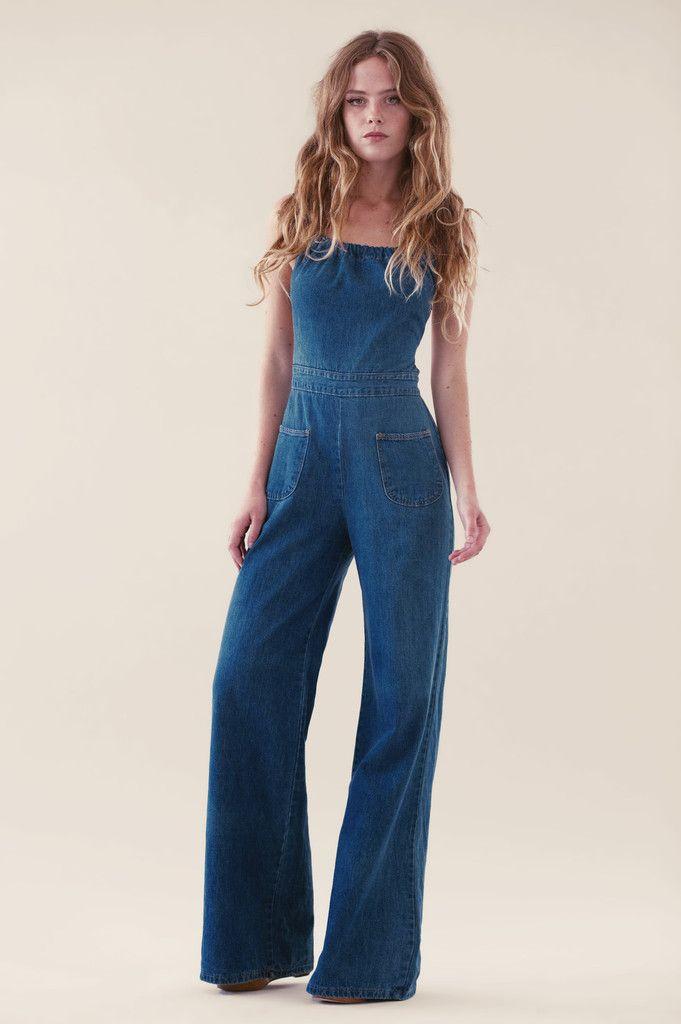 1167f5ab6c48bb Macacão longo   jeans   pantalona   casual   macacão   Macacão jeans ...