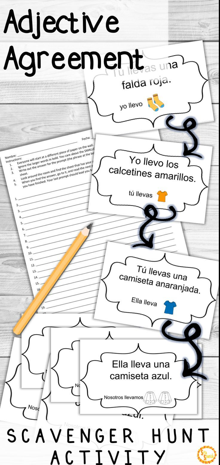 Spanish Adjectives And Nouns Agreement Corre En Crculos Activity