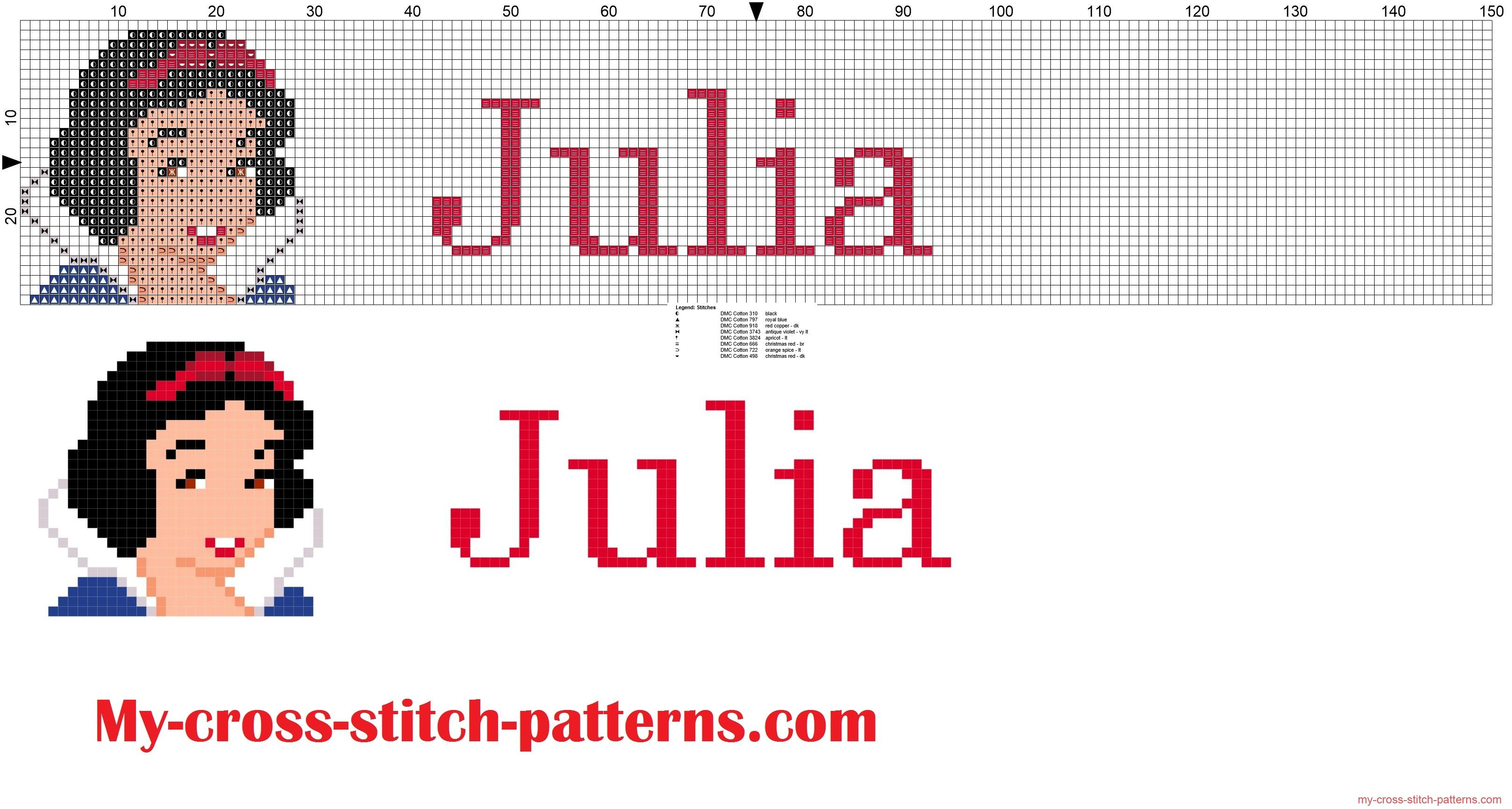 Julia cross stitch pattern name with Disney Princess white snow ...