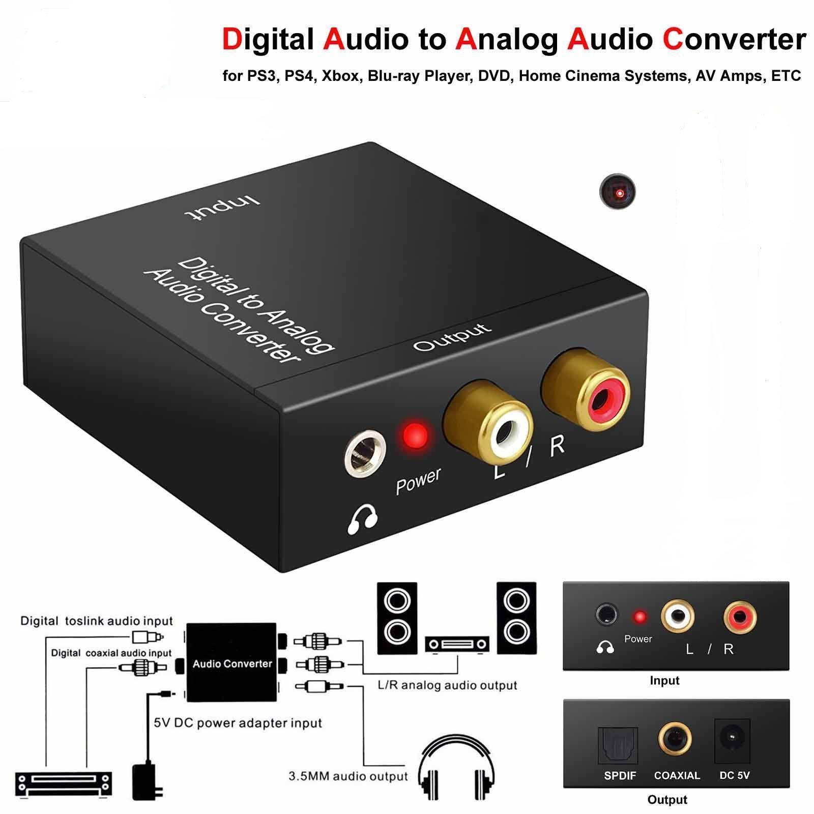 1pcs lot 3.5mm Optical Coaxial Toslink Digital to Analog Audio Converter Adapter RCA L//R