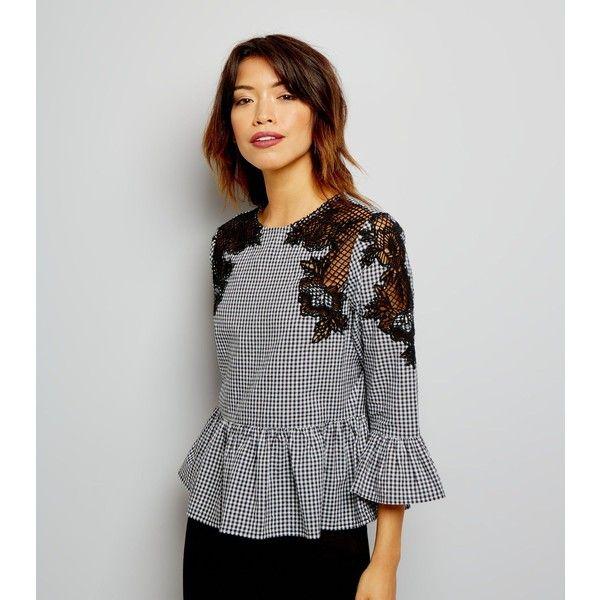 New Look Black Gingham Crochet Lace Trim 3/4 Sleeve Top (285 SEK)