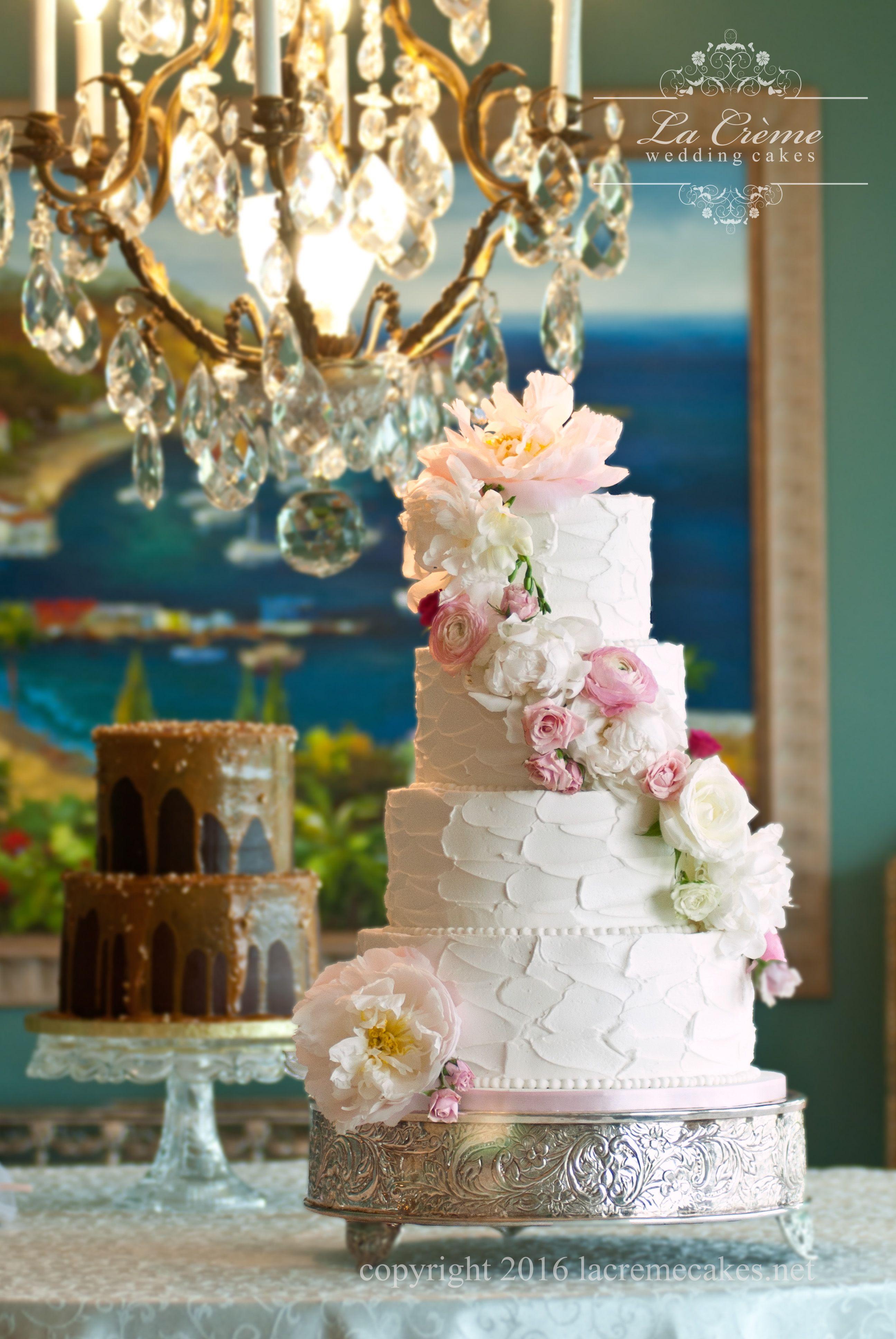 White Wedding Cake With Flower Cascade La Cremes Wedding Cakes