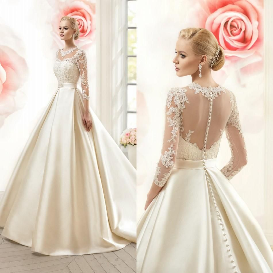 Click to buy ucuc illusion long sleeves wedding dresses a line