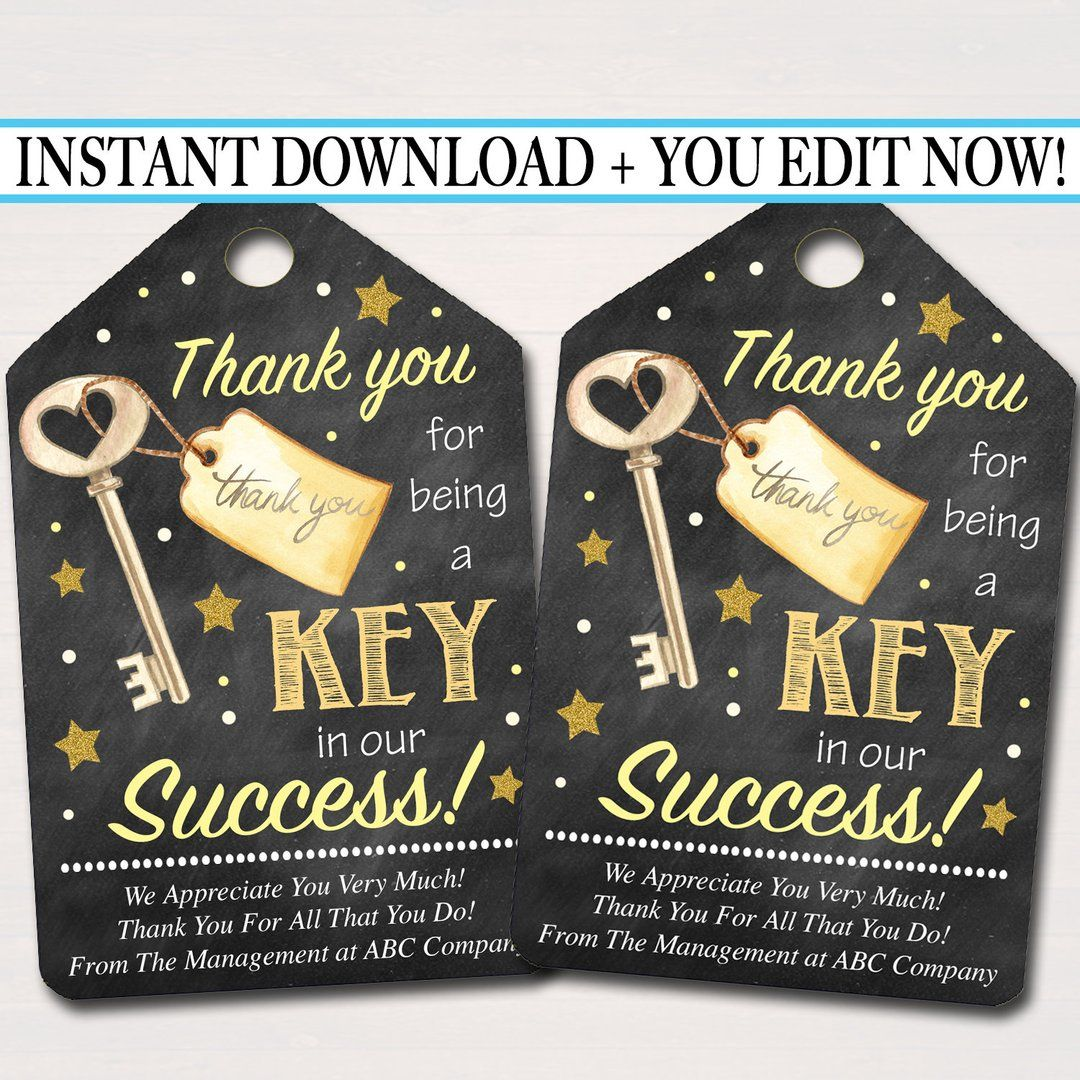 Printable Thank You Tags, Volunteer Key Labels INSTANT + EDITABLE, Thank You Gift, PTA Staff Employee, Teacher Appreciation Favor Printable #thanksgivinggiftsforteachers