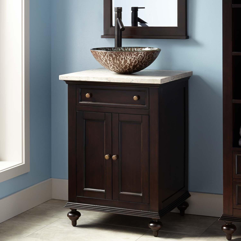 24 Keller Mahogany Vessel Sink Vanity Dark Espresso Small