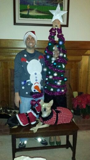 Tacky Christmas Sweater Tree and Snowman