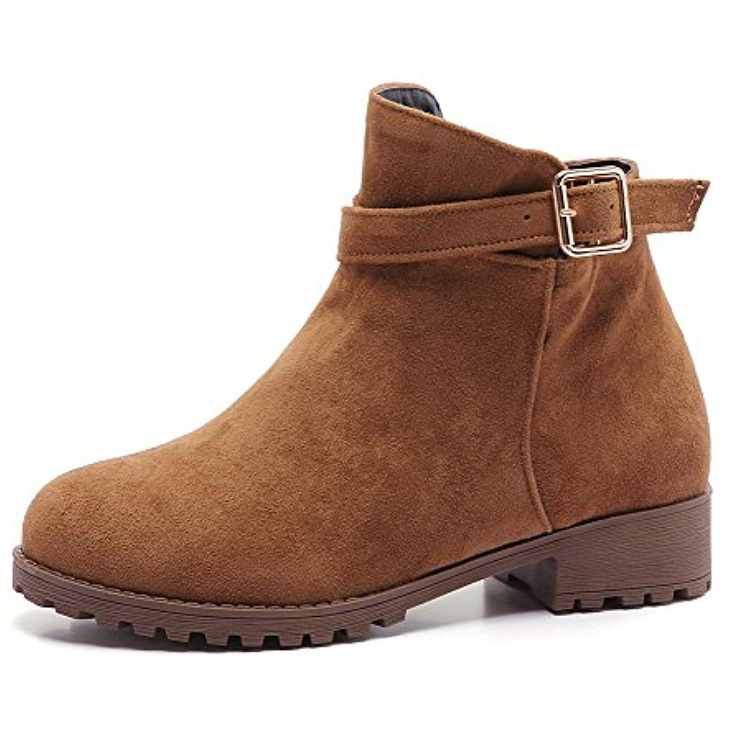 Women's Solid Low-Heels Round Closed Toe Imitated Suede Zipper Boots
