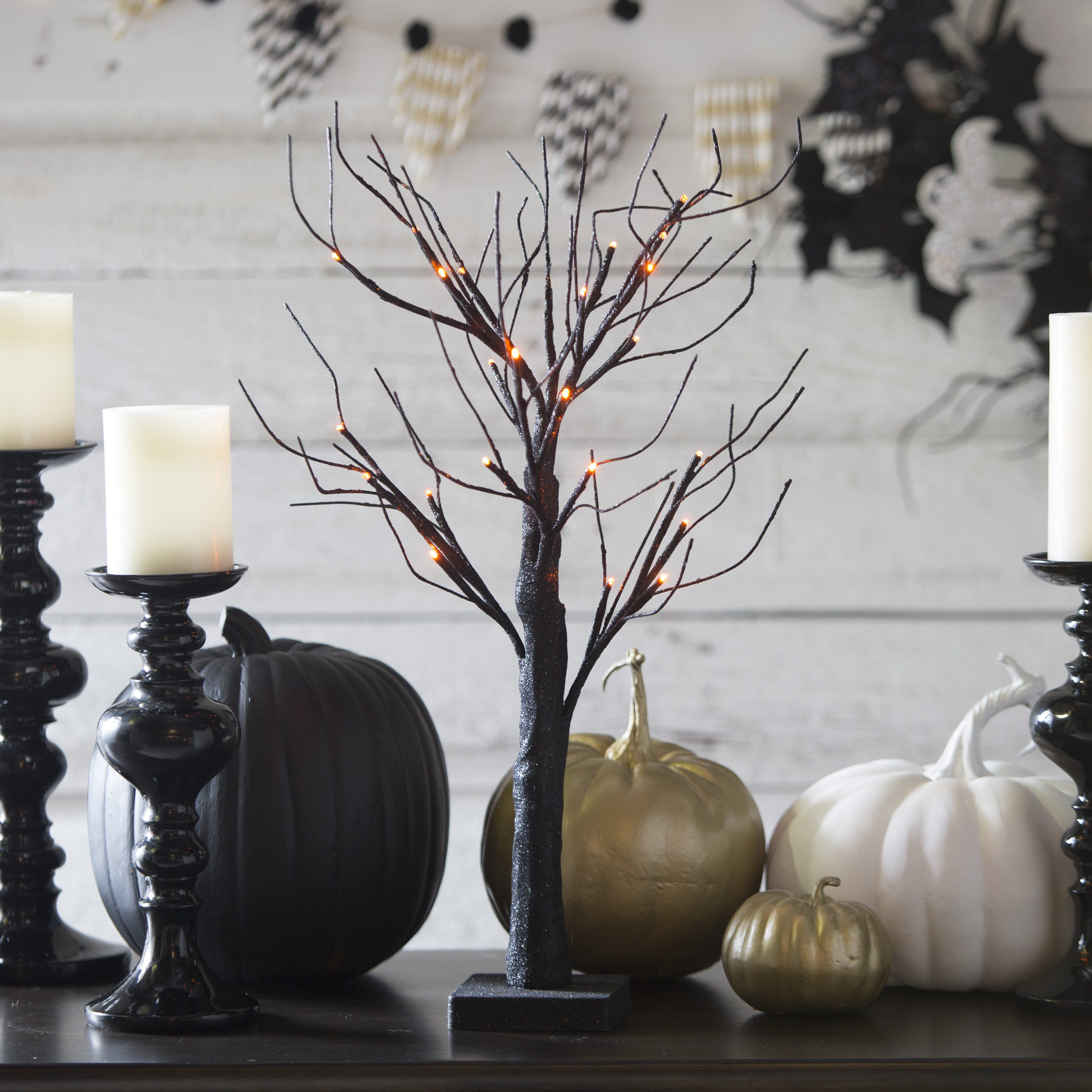 24 in. Black Glitter Halloween Tabletop Tree with Orange LED ...