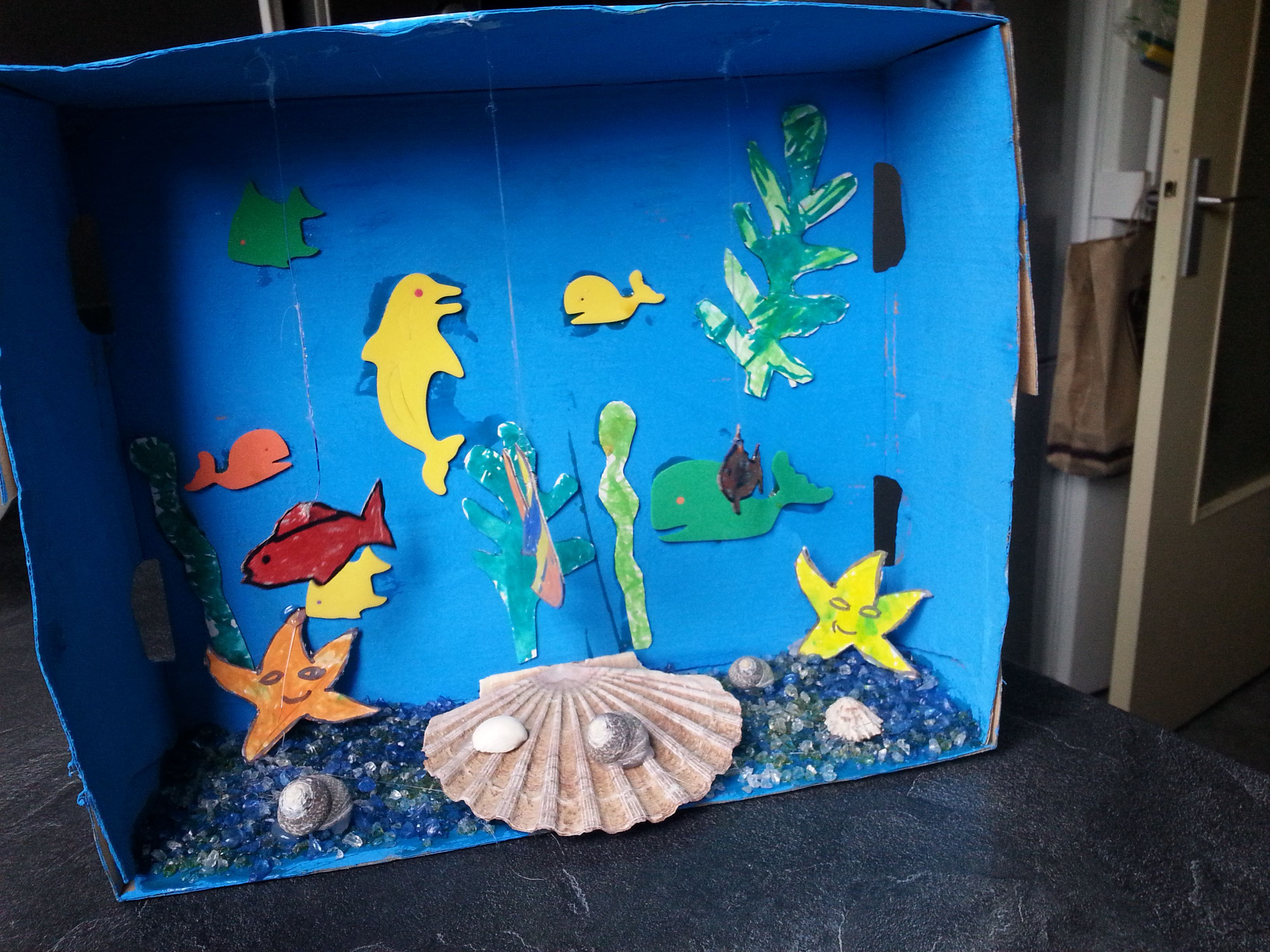 Petit aquarium fait dans une boite de carton que l 39 enfant for Activite interieur