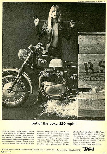 120 Mph Out Of The Box With Images Bsa Motorcycle Chicks On Bikes