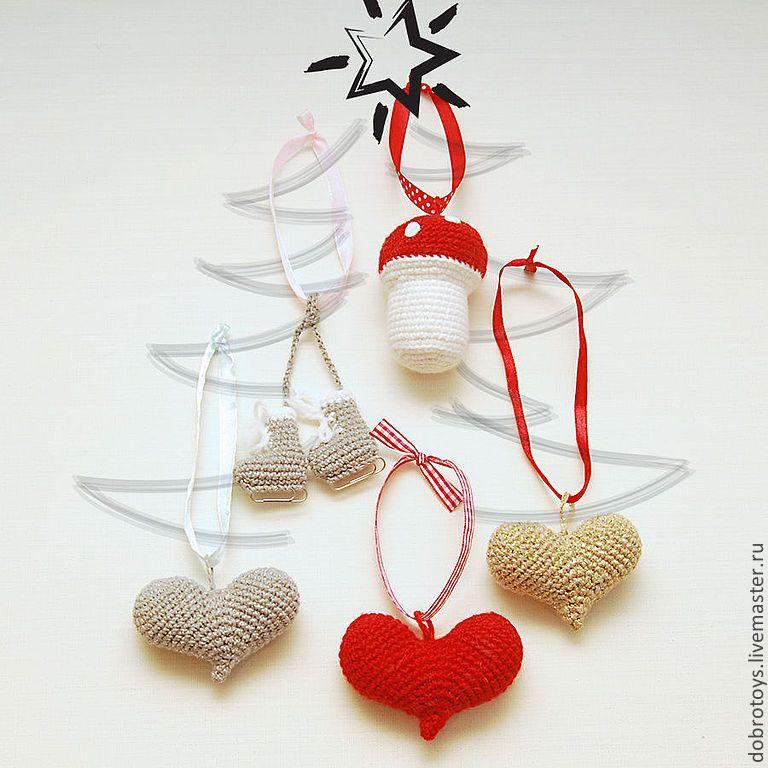 Купить Набор новогодних игрушек - ярко-красный, красно-белый, серебряный, золотой, новогоднее украшение