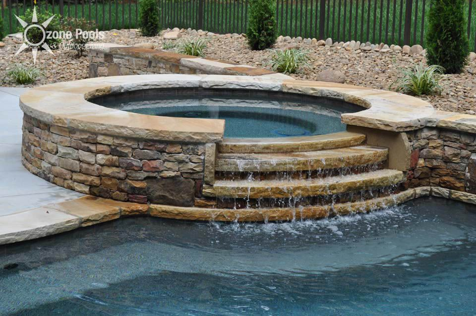 Inground Spas With Stack Stone : Stacked stone spillway spa stair step design swimming