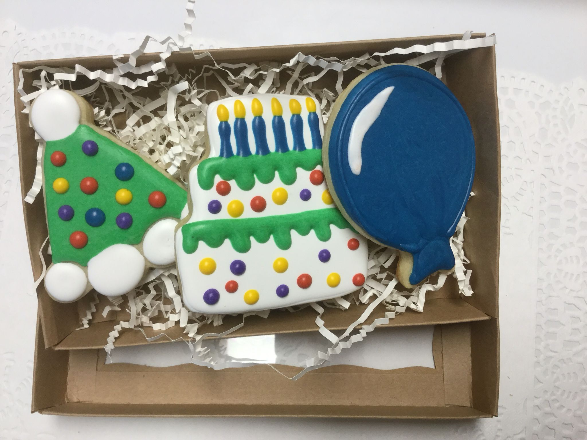 Happy Birthday gift boxed decorated sugar cookies by I AM the Cookie
