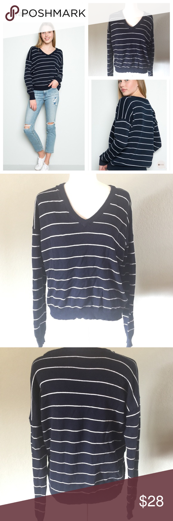 Brandy Melville Lance navy v-neck cotton sweater | Cotton sweater ...