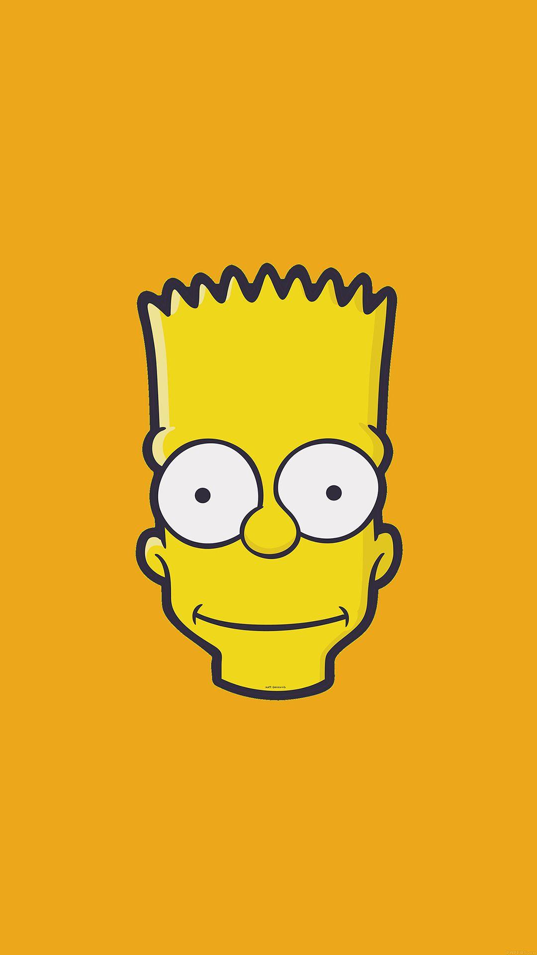 Bart Simpson Face Illust Art Yellow Minimal Simple iPhone