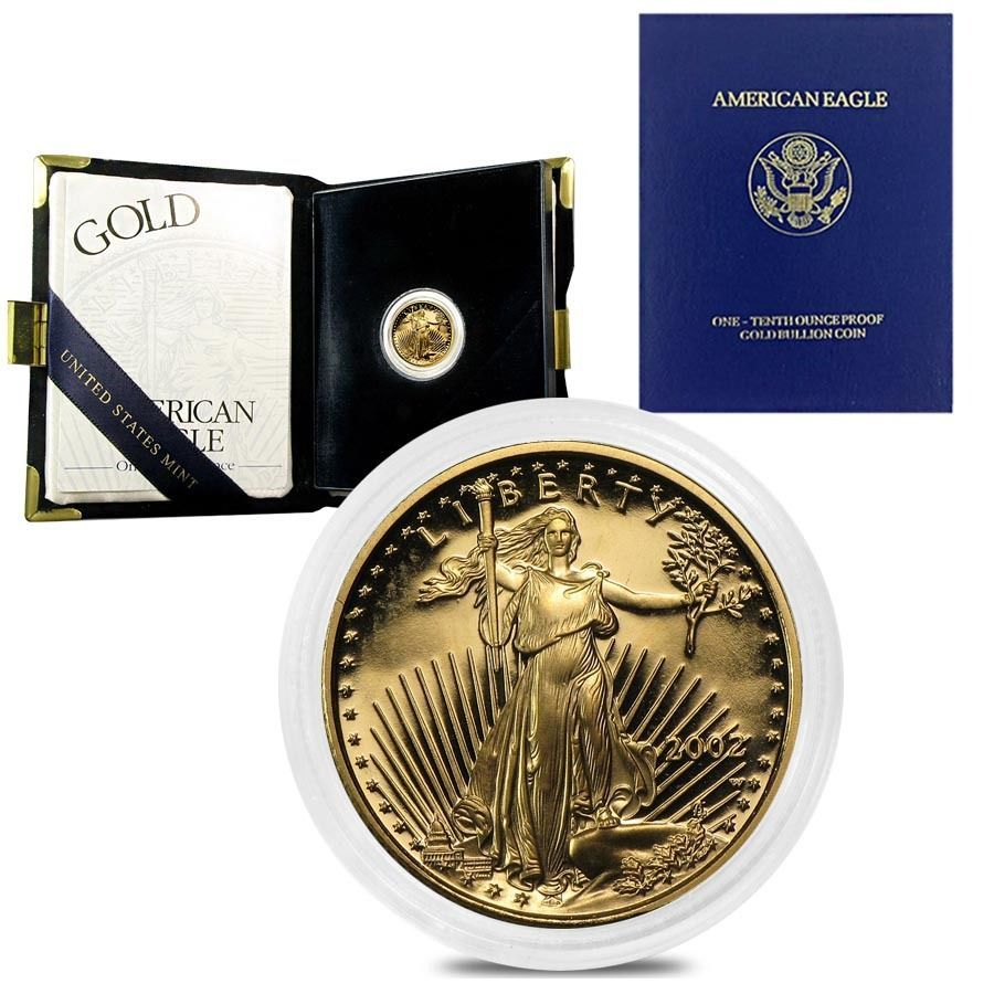 2002 W 1 10 Oz 5 Proof Gold American Eagle W Box Coa Gold American Eagle American Eagle Gold