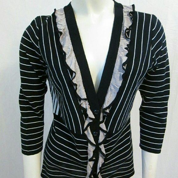 Cabi The Flirt striped black cardigan sweater Lightweight thin ...