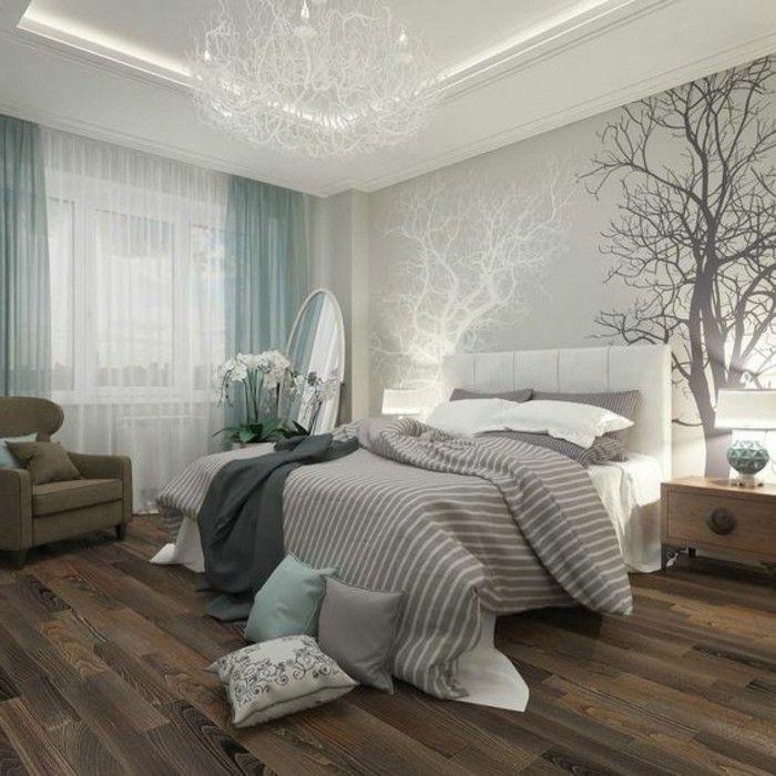 11 deko ideen schlafzimmer wandsticker baum blaue gardinen boden aus