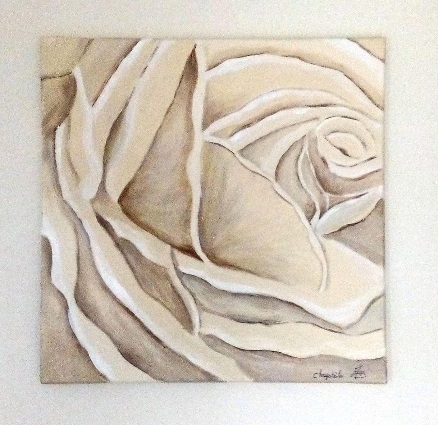 rose peinte en nuances de beige peintures par kikry art