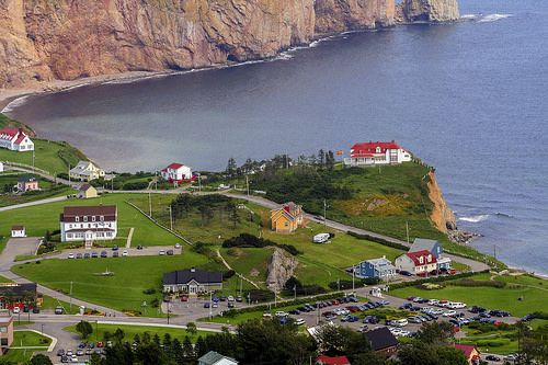 """The famous town of the """"Rocher Percé"""". Seen from above. Got lucky to get such a clear view because it gets cloudy many times."""