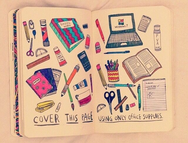 cover this page using only office supplies wreck this Pinterest