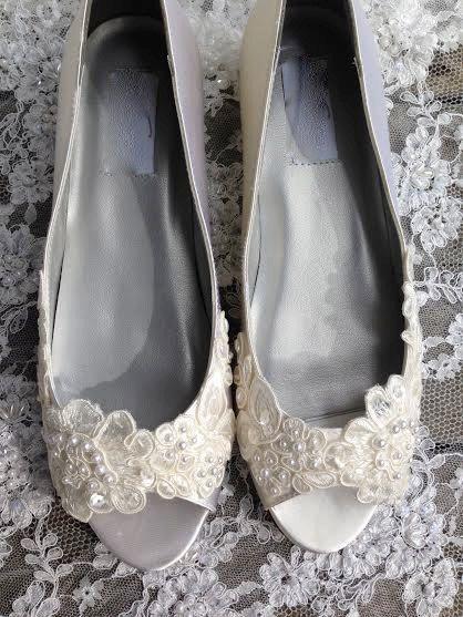 Victorian Style Flat Bridal Shoe Open Toe Pump Custom Beaded Hand