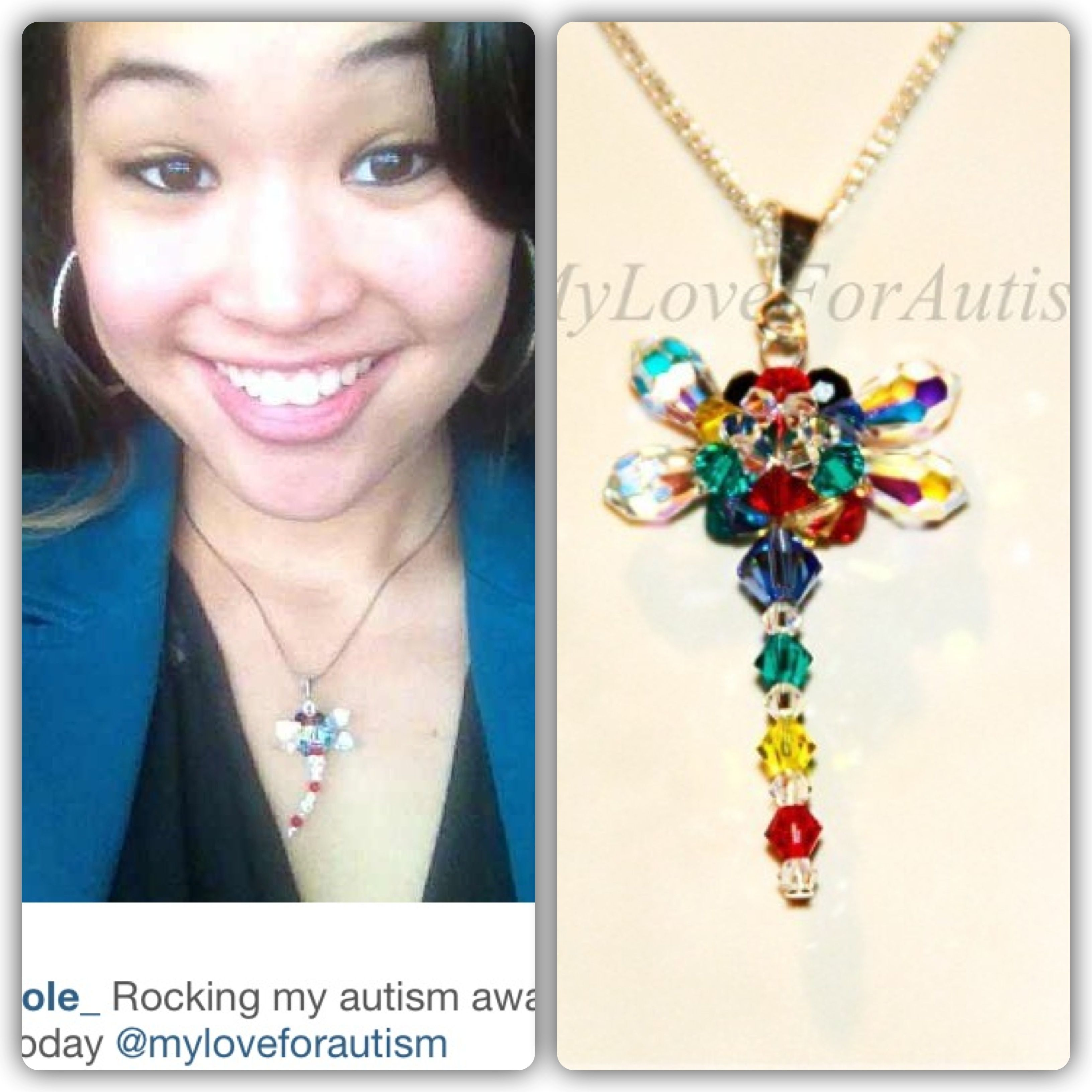 _sashanicole_ is rocking her beautiful ✨❤Swarovski Crystal Dragon Fly Autism Awareness Pendant✨❤ in dedication to her brother pendants available only at www.MyLoveForAutism.com    #BeautifulAutismAwarenessJewelry #MyLoveForAutism❤