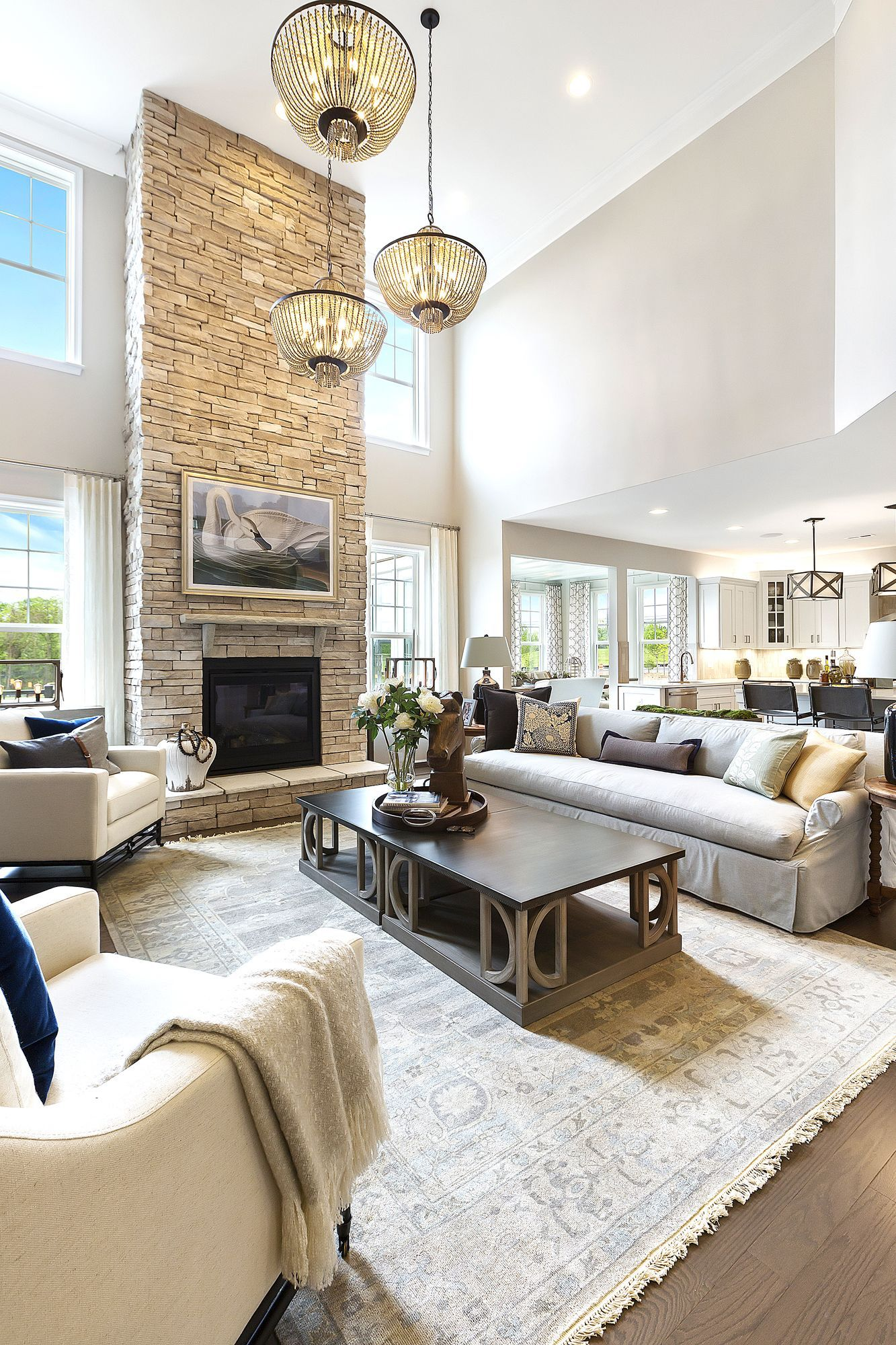 Beautiful living room with idaho drystack antique buff fireplace curtainsideasforbedroom