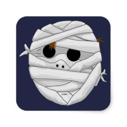 Mummy boy square sticker - craft supplies diy custom design supply special