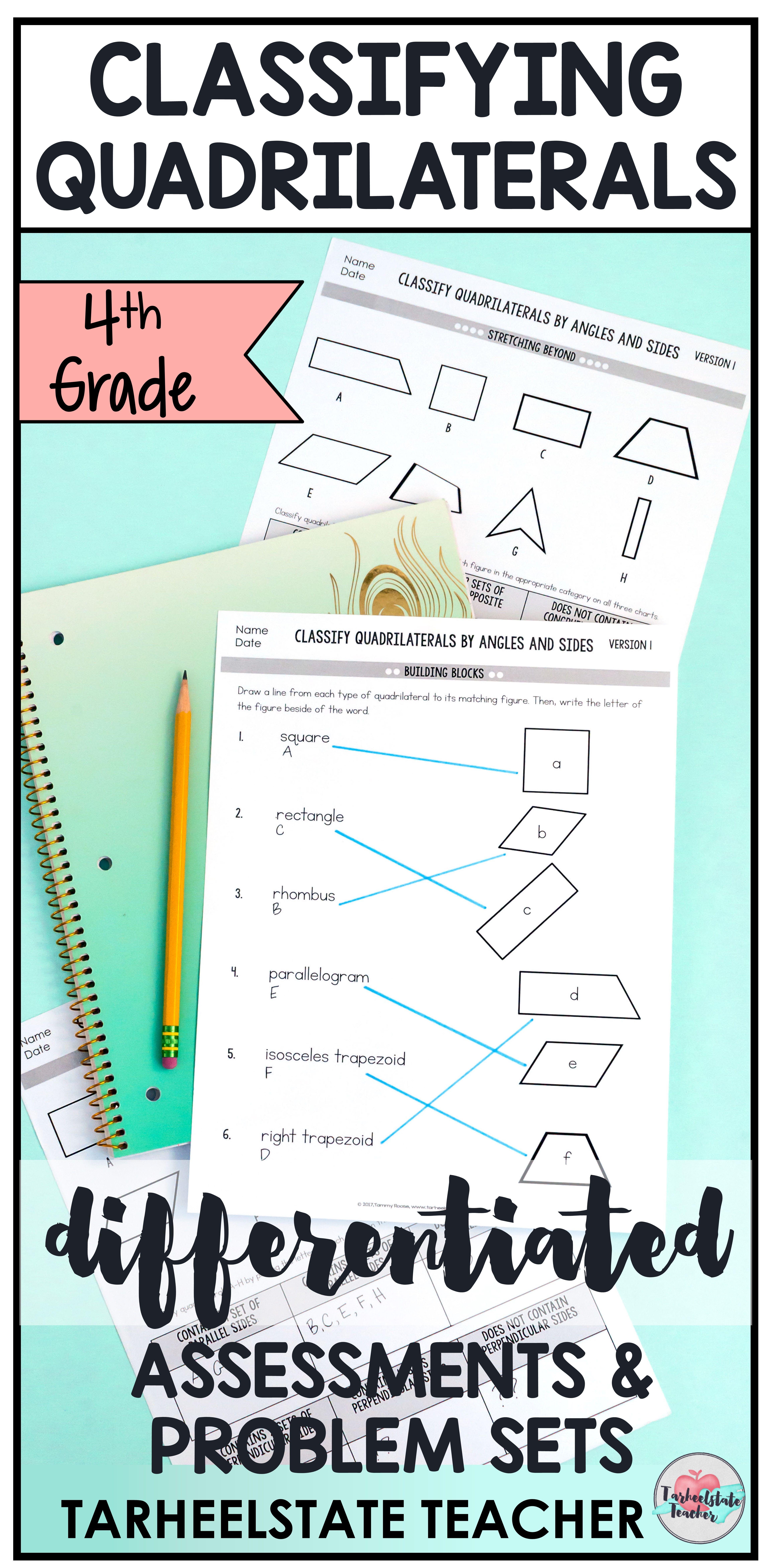 4th Grade Geometry   Classifying Quadrilaterals Differentiated Worksheets    4th Grade Quadri…   Quadrilaterals [ 9375 x 4594 Pixel ]