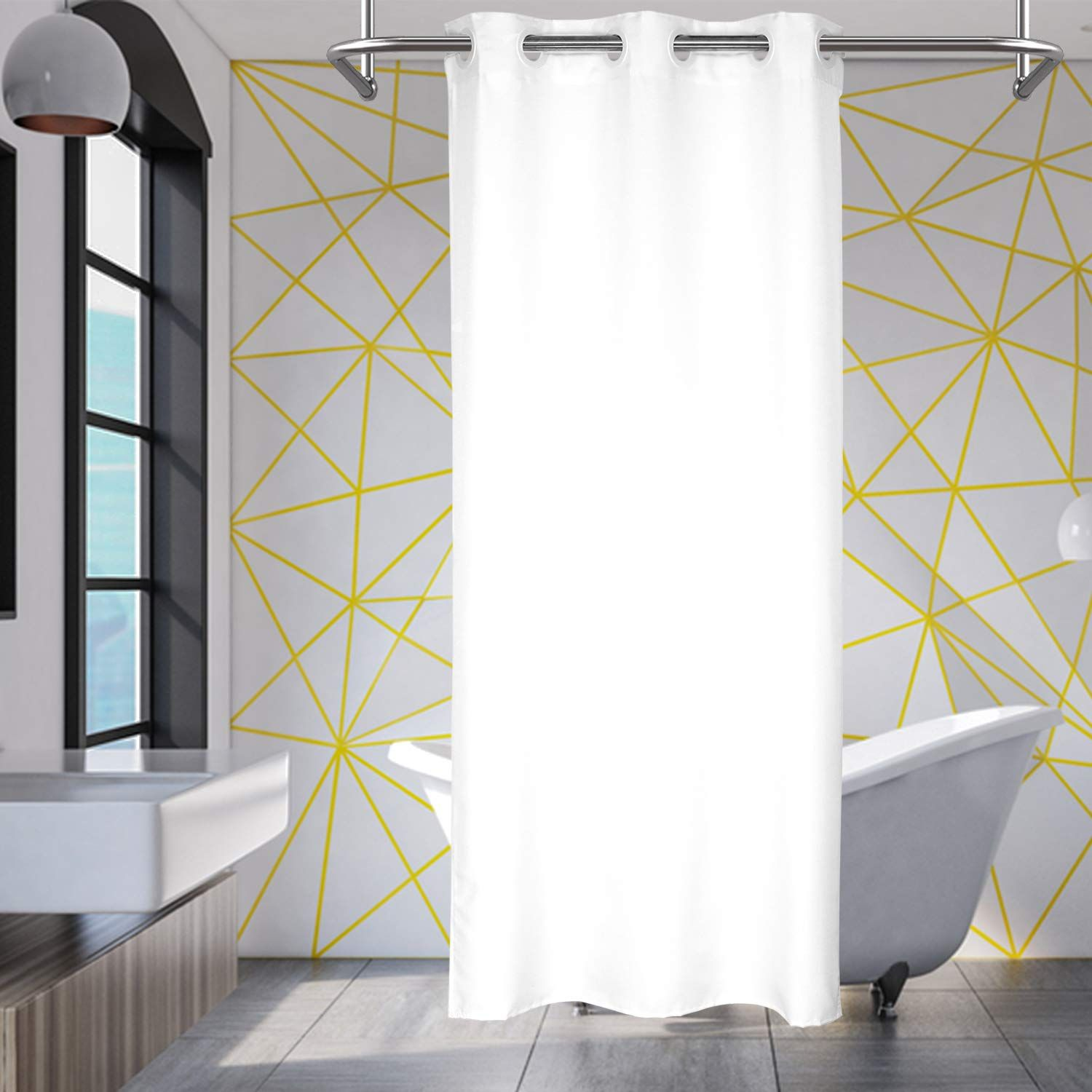 River Dream No Hooks Needed Small Fabric Shower Curtain Or