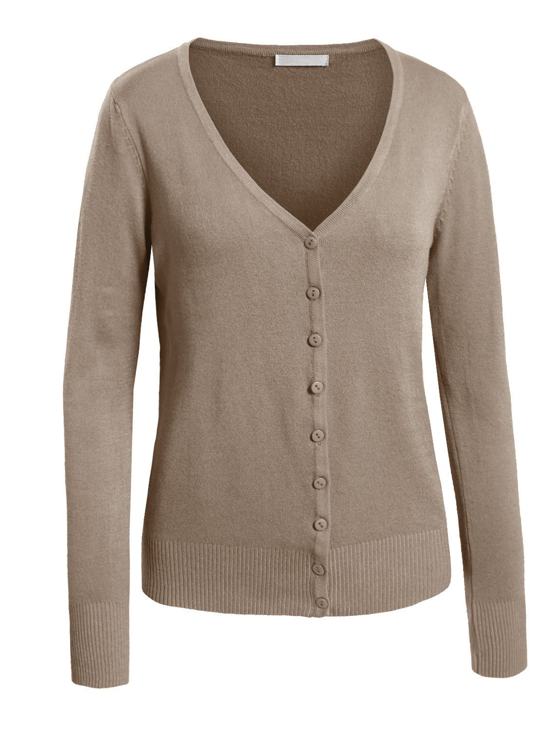 Womens Lightweight Long Sleeve Deep V Neck Knit Cardigan ...
