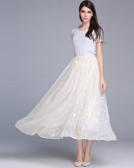 Beige chiffon embroidery skirt expansion skirt plus size skirt plus size clothing summer skirt summer clothing