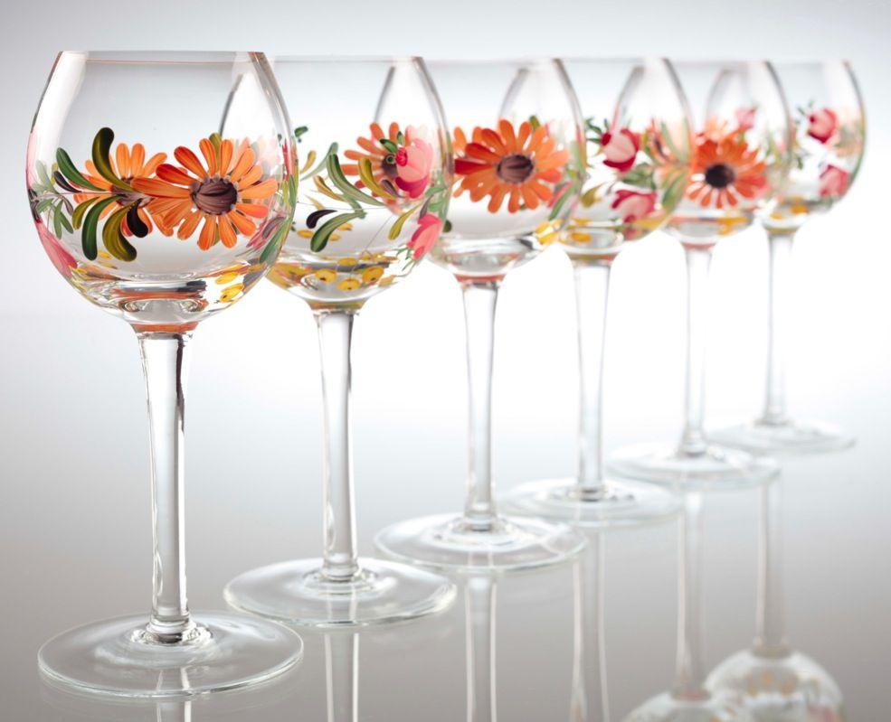 6 Handbemalte Vintage Weingläser Floral Sommerlich