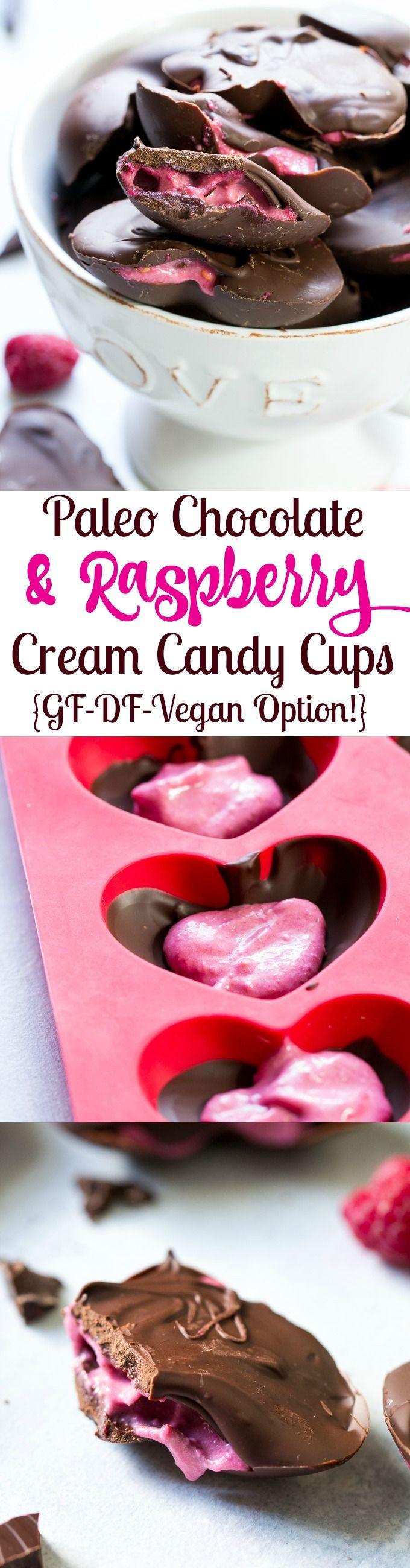 Chocolate Raspberry Cream Paleo Candy Cups {Vegan Option}   The Paleo Running Momma