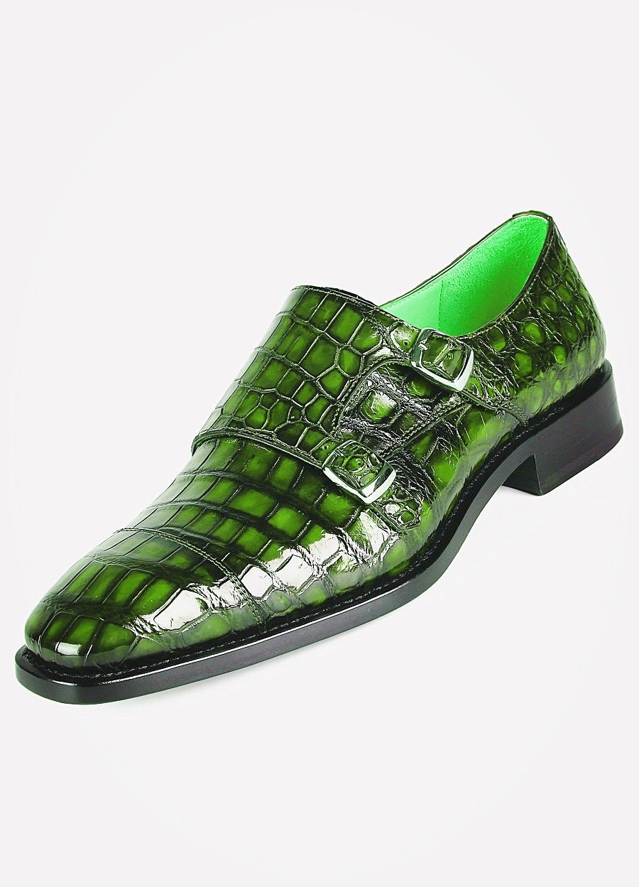 Men s Alligator Leather Double Buckle Monk Strap Cap-Toe Dress Shoes - Green 2ece9f69dba5