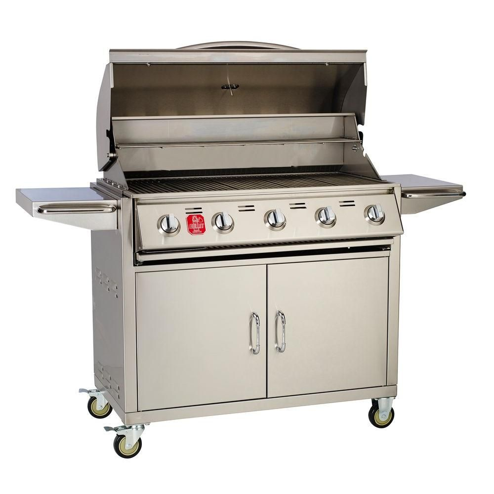 Bullet 5burner builtin propane gas grill in stainless