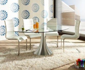 Glastisch rund esszimmer  Esstisch Deluxe 180x120 cm Glas Aluminium Glastisch Lifestyle ...