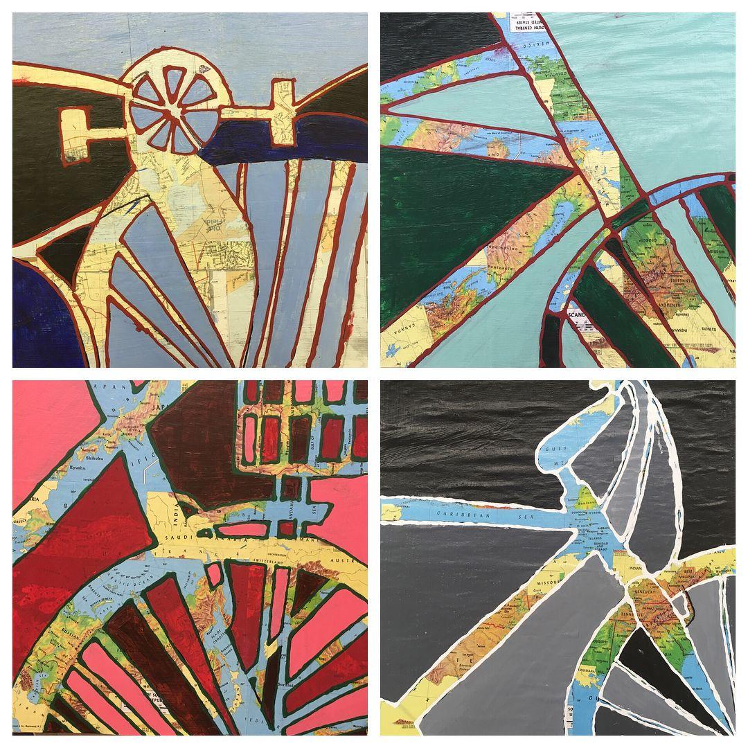8th Grade Monochromatic Bike Paintings Focusing On