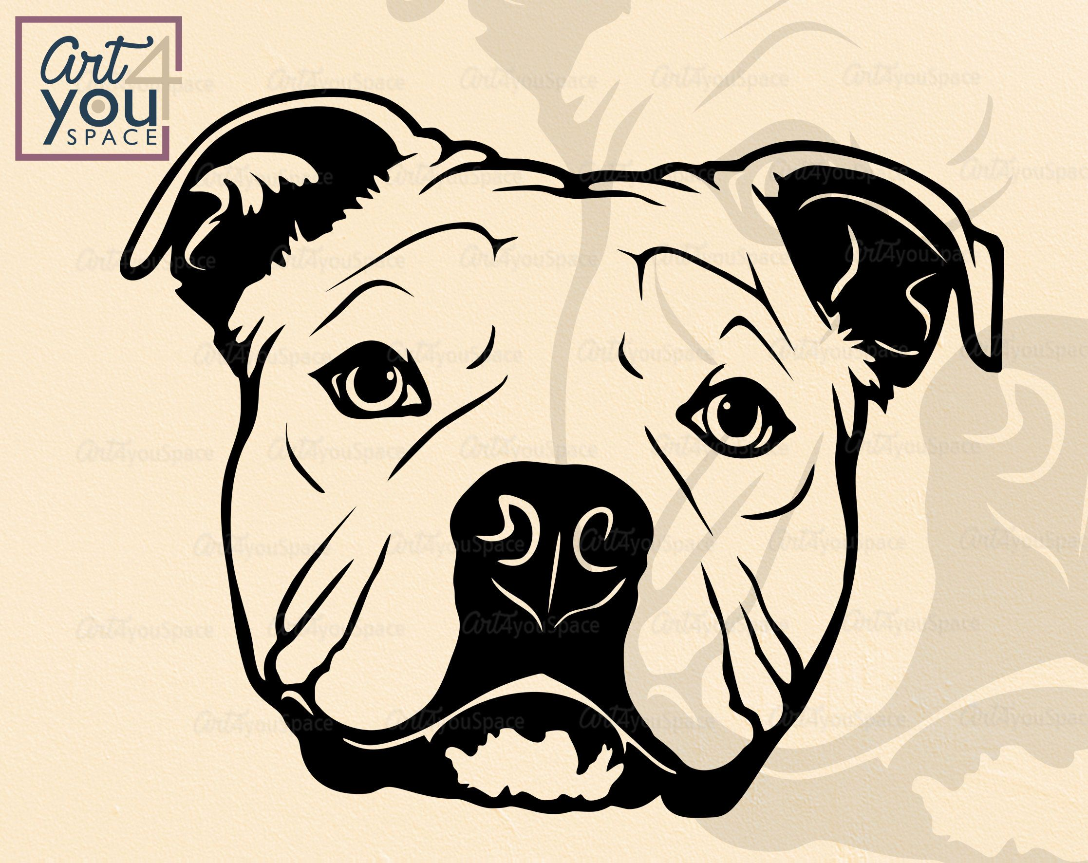 Cute American Bully Svg Dog Svg Cricut Funny Face Head Pet Etsy