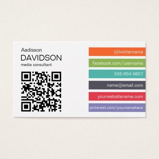 bright bar qr code social media business card pinterest qr codes