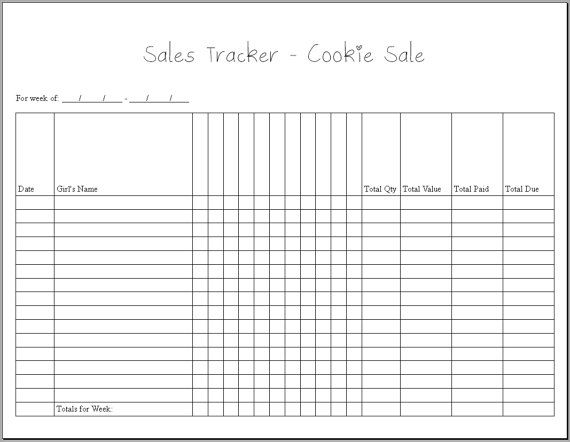 Girl Scout Sales Tracker Cookie Sale PDF by HeartroseDesigns Girl