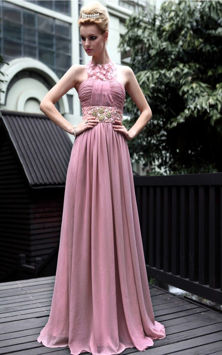 New fashion purple cocktail prom halter party beading formal long