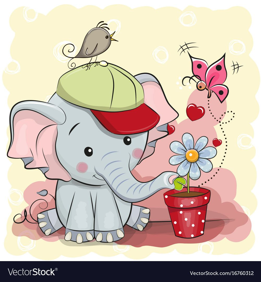 Greeting Card Cute Cartoon Elephant With Flower Download A Free