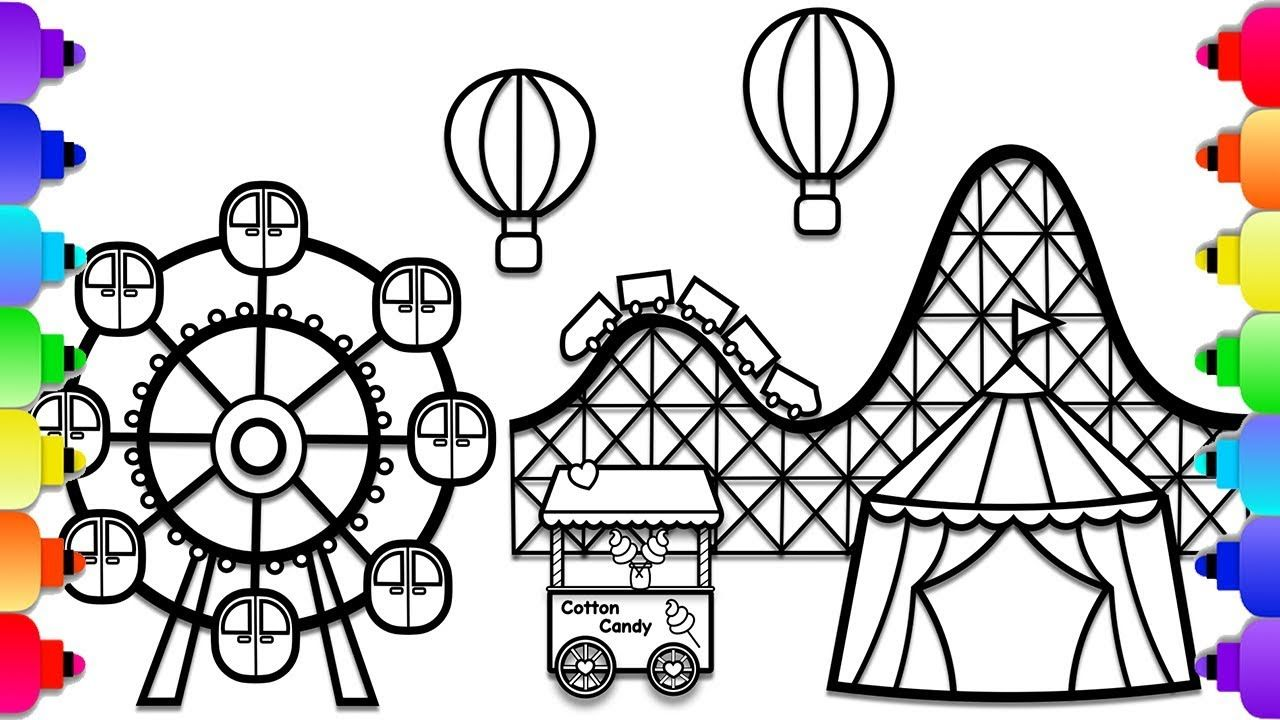 Learn How To Draw An Amusement Park Step By Step For Kids Carnival Col Roller Coaster Drawing Easy Drawings Summer Coloring Pages